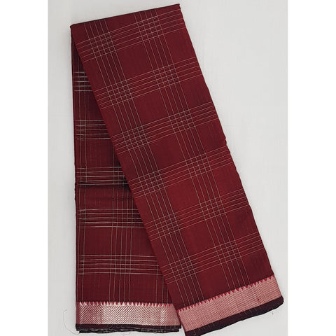 Maroon and black color mangalagiri silk saree with silver zari border - Vinshika