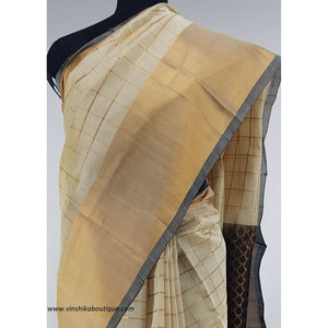 Half white Kuppadam Pattu Saree