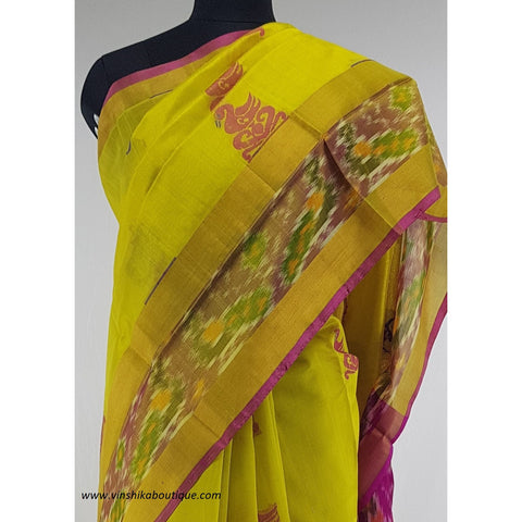 Yellow with Pochampalli border Kuppadam Pattu Saree