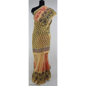 Bagru Block Printed and shibori Natural Colors Chanderi Saree With small zari border - Vinshika