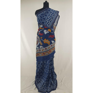 Indigo and WhiteHand Block Printed in Natural Colors Chanderi Saree With small zari border