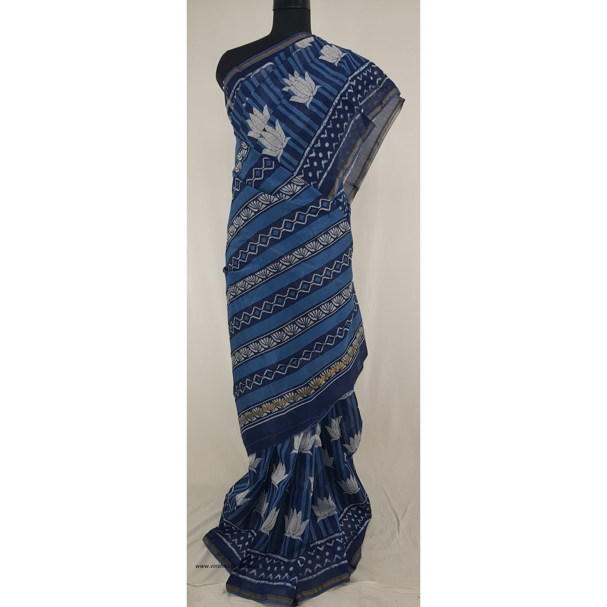 Indigo and White Hand Block Printed in Natural Colors Chanderi Saree With small zari border
