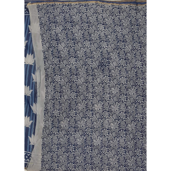 Indigo and White Hand Bagru Block Printed in Natural Colors Chanderi Saree With small zari border - Vinshika