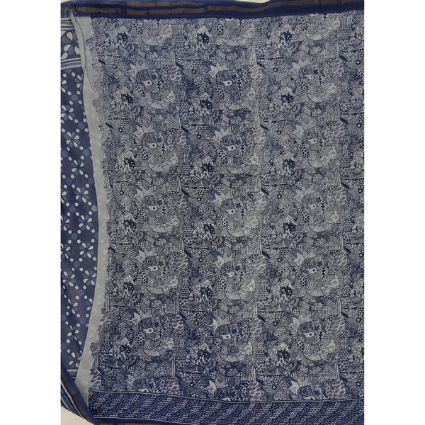Indigo and WhiteHand Bagru Block Printed in Natural Colors Chanderi Saree With small zari border - Vinshika