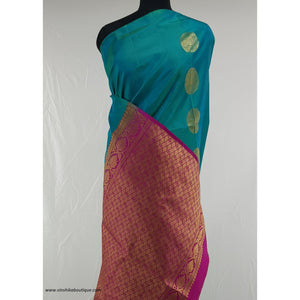 Cyan and Rani pink Color Kanjeevaram soft silk saree - Vinshika