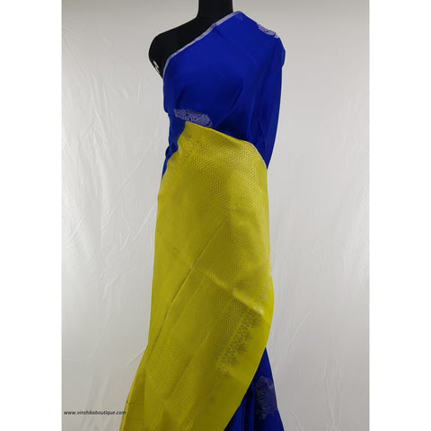 Blue and True Gold Yellow Color Kanjeevaram soft silk saree
