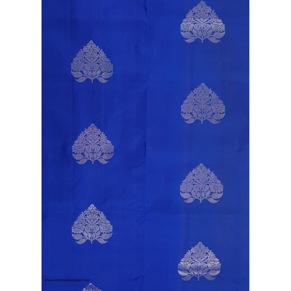 Blue and True Gold Yellow Color Kanjeevaram soft silk saree - Vinshika