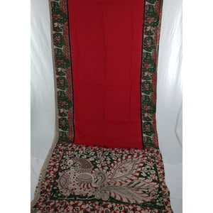 Red and green kalamkari silk saree