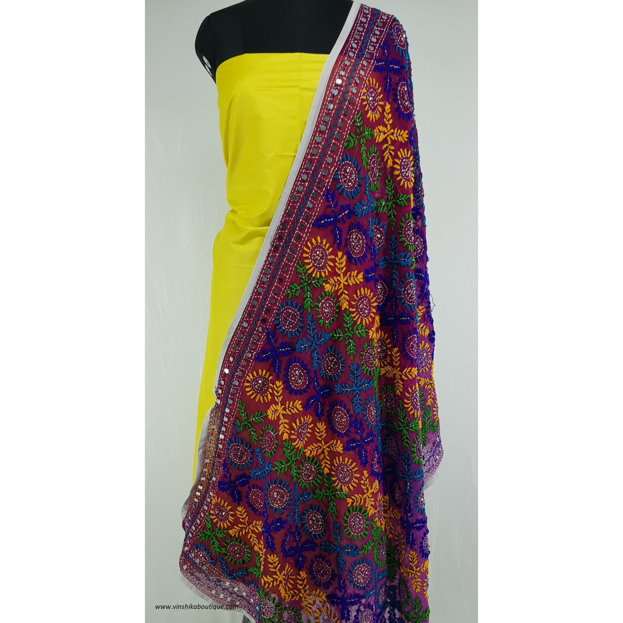 Phulkari Georgette dupatta with Silk top / salwar set - Vinshika