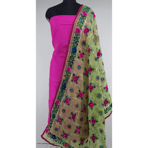 Phulkari Chanderi silk dupatta with Raw Silk top / salwar set - Vinshika