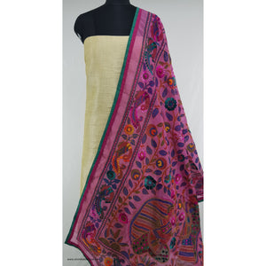 Phulkari Chanderi silk dupatta with Raw Silk top / salwar set