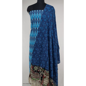 Kalamkari silk dupatta with Ikat cotton top / salwar set - Vinshika