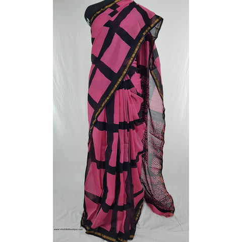 Pink and black color Bagru batik Natural Colors Chanderi Saree With small zari border - Vinshika
