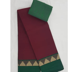 Handwoven Narayanpet pure cotton thread border saree - Vinshika