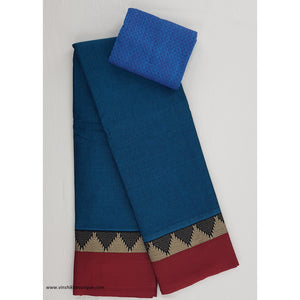 Handwoven Narayanpet pure cotton thread border saree