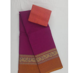 Pink color Kanchi cotton saree - Vinshika