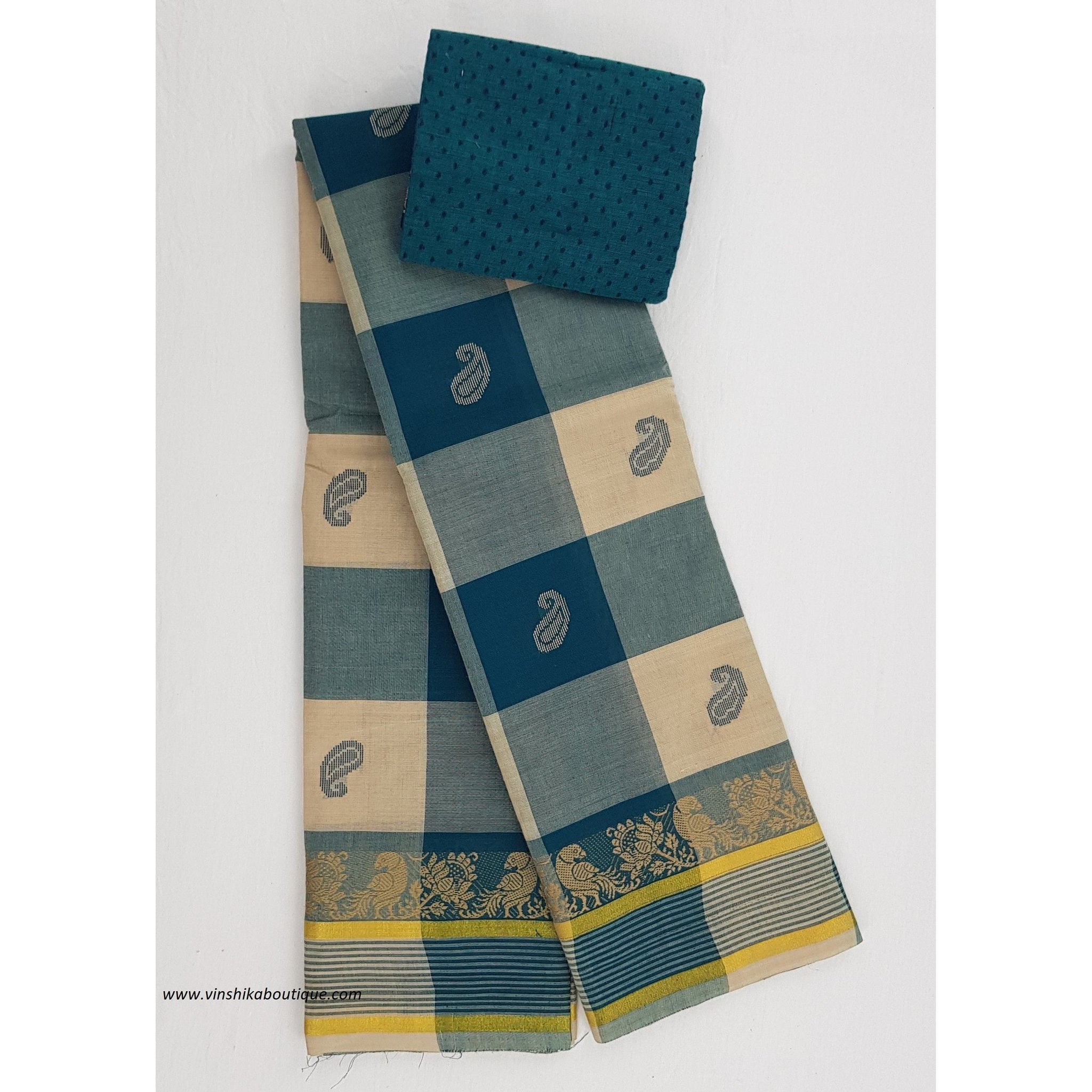 Kanchi cotton saree with blouse