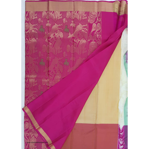 Cream and Pink Kanjeevaram silk saree - Vinshika