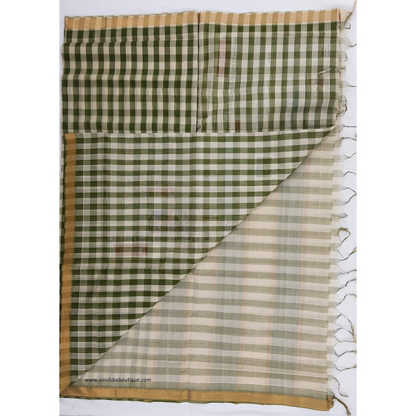 Green and cream color mangalagiri cotton saree with golden zari boarder - Vinshika