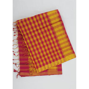 Blossom and yellow color mangalagiri cotton saree with golden zari boarder - Vinshika
