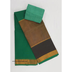 Kanchi cotton saree with golden zari border - Vinshika