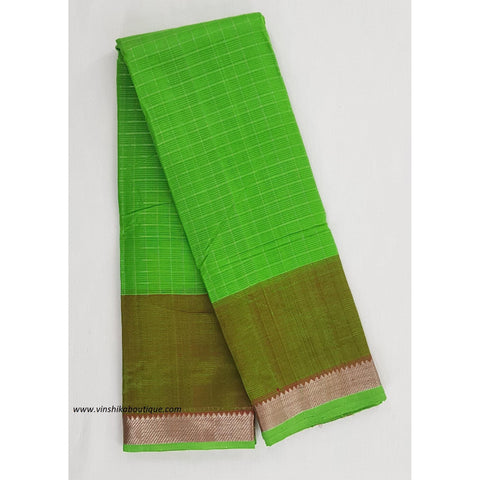 Parrot green and Red color mangalagiri silk saree with silver zari border