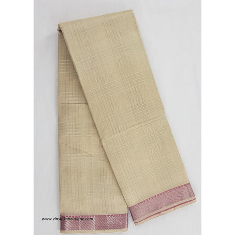 Beige and pink color mangalagiri silk saree with silver zari border - Vinshika