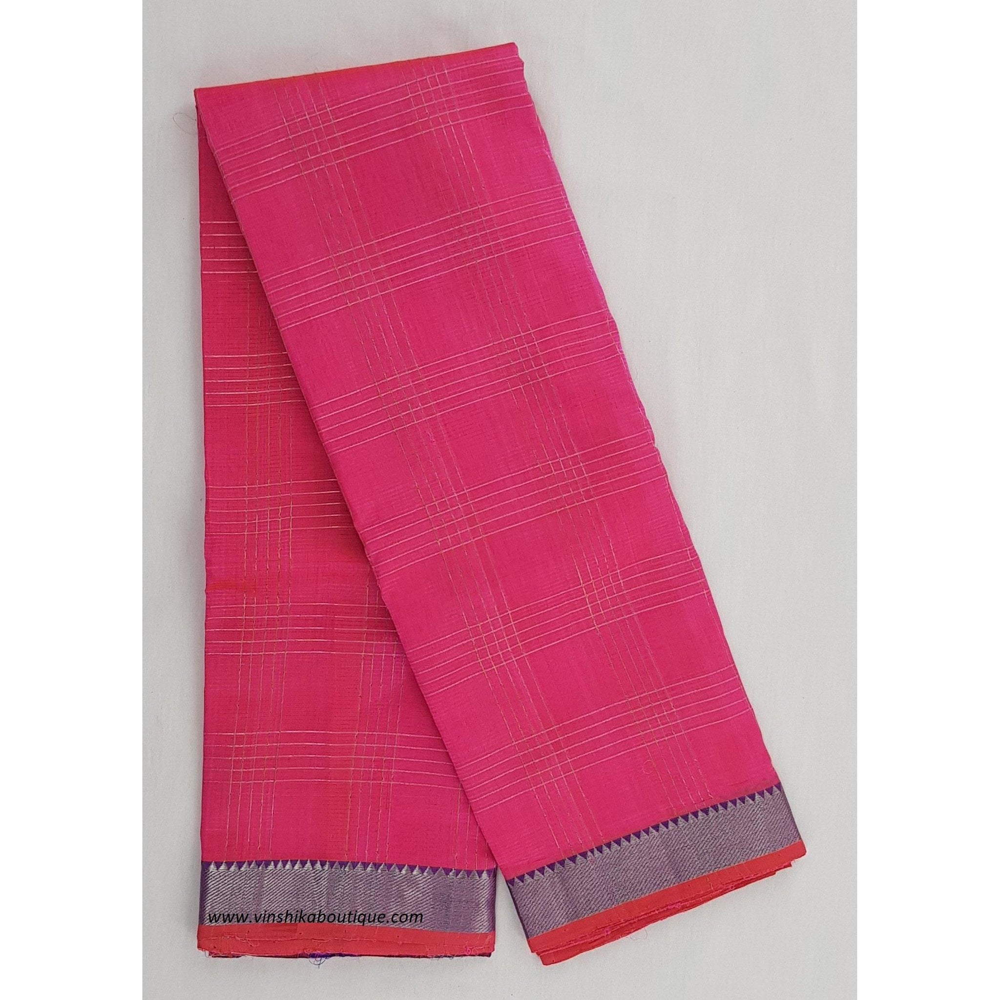 Neon Pink color mangalagiri silk saree with silver zari border - Vinshika