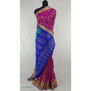 Pink and Blue Kanjeevaram silk saree