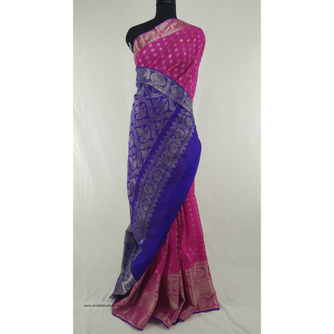 Pink and Blue color Handwoven Kuppadam Pattu Silver Zari Heavy Kanchi border Saree - Vinshika
