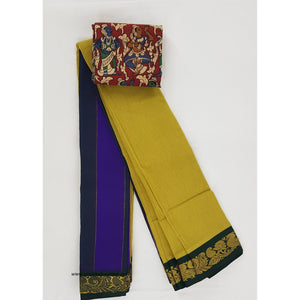 Yellow and Green color Mini Gadwal Pure Cotton Saree