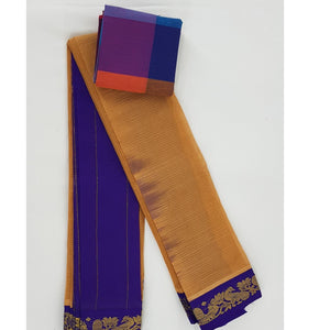 Mustard and Blue color Mini Gadwal Pure Cotton Saree