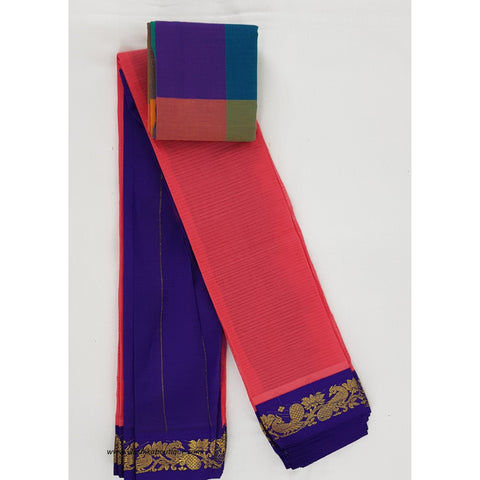 Neon Pink and Blue color Mini Gadwal Pure Cotton Saree-Vinshika