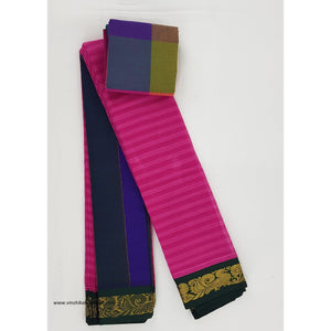 Pink and Green color Mini Gadwal Pure Cotton Saree