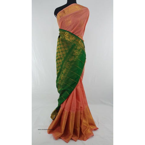 Blush and Green color Handwoven Kuppadam Pattu Golden Zari Heavy Kanchi border Saree - Vinshika