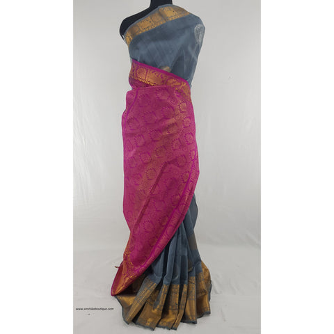 Grey and Pink color Handwoven Kuppadam Pattu Golden Zari Heavy Kanchi border Saree - Vinshika