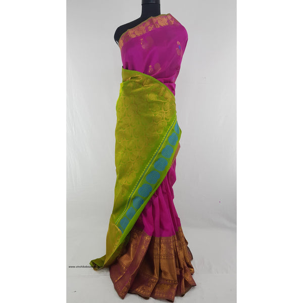 Pink and Green color Handwoven Kuppadam Pattu Golden Zari Heavy Kanchi border Saree - Vinshika