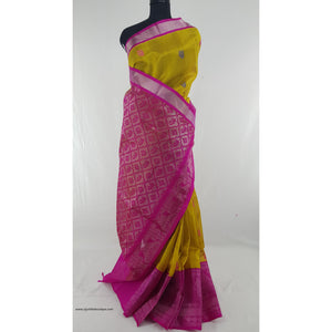 Yellow and Pink color Handwoven Kuppadam Pattu Silver Zari Heavy Kanchi border Saree