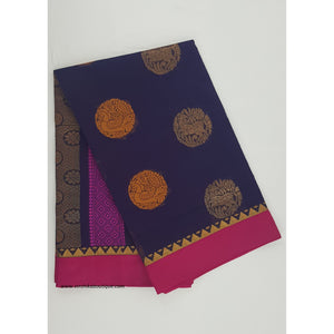 Navy blue and Pink color Mini Kuppadam Saree - Vinshika