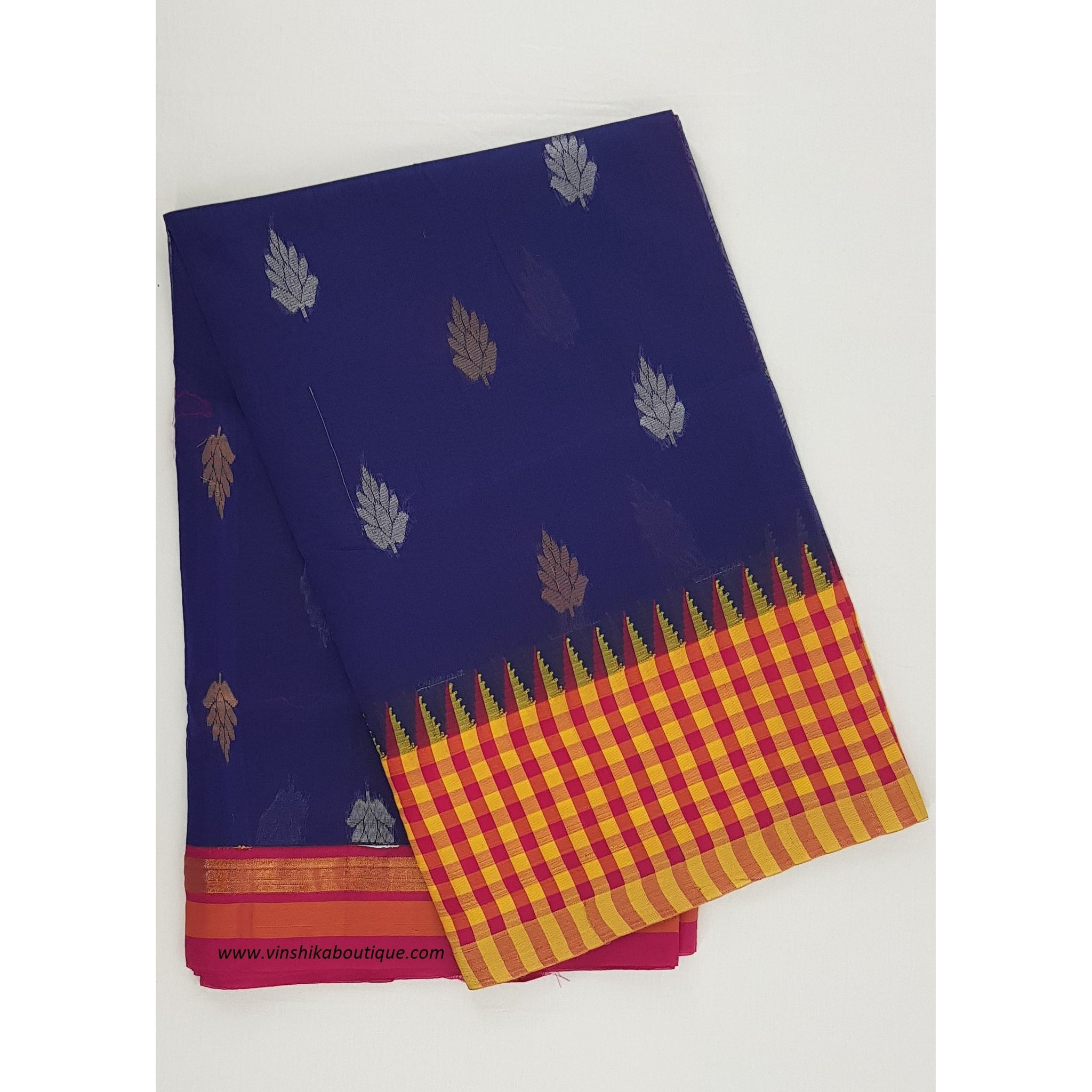 Navy blue and Pink color Mini Kuppadam Saree