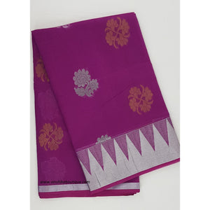 Brinjal and Silver color Mini Kuppadam Saree - Vinshika