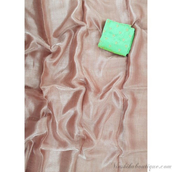 Pure copper color tussar silk tissue saree