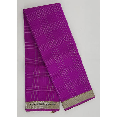 Queen Lyra color Mangalagiri silk saree with silver zari border