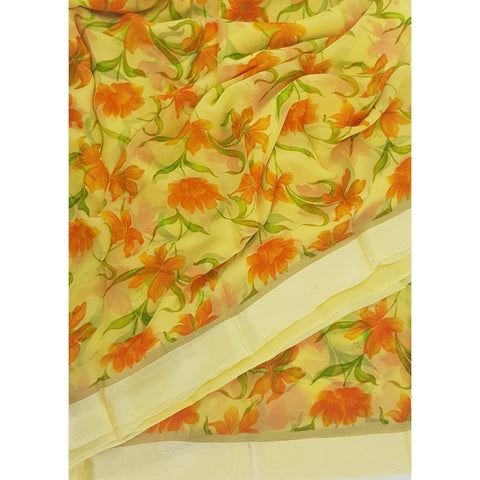 Yellow Color Floral Pure Chiffon Saree with Satin Border