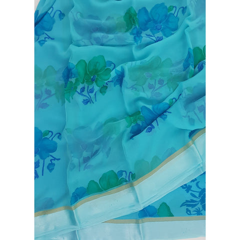Blue Color Floral Pure Chiffon Saree with Satin Border