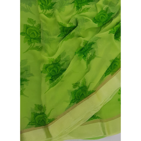 Green Color Floral Pure Chiffon Saree with Satin Border - Vinshika