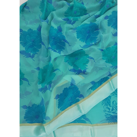 Blue Color Floral Pure Chiffon Saree with Satin Border - Vinshika