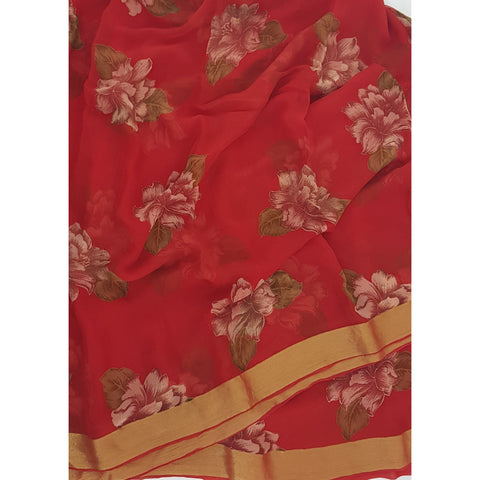 Orange Color Floral Pure Chiffon Saree with Golden Zari Border