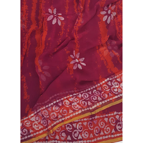 Maroon color Shibhori and Batik Pure Chiffon Saree with Golden Zari Border