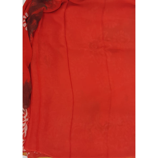 Orange color Shibhori and Batik Pure Chiffon Saree with Golden Zari Border